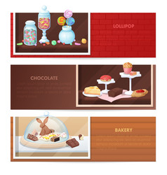 Horizontal banners with sweets food vector