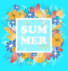 Summer poster with floral and fauna elements vector