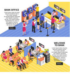Bank office horizontal isometric banners vector