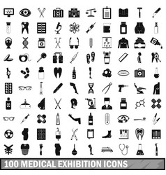 100 medical exhibition icons set simple style vector