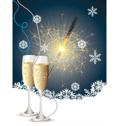 Champagne and sparkler2 vector