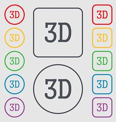 3d sign icon 3d-new technology symbol symbols on vector
