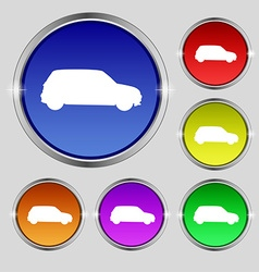 Jeep icon sign round symbol on bright colourful vector