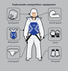 Taekwondo sport competition equipment vector