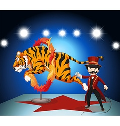 Tiger jumping through ring of fire vector
