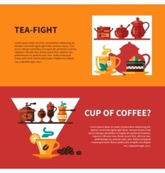 Coffe and tea 2 banners design vector