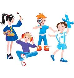 Set of cute cartoon kids vector