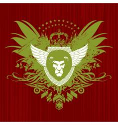 Heraldry with lion head vector