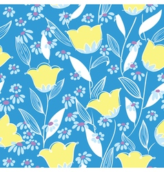 Floral seamless background in doodle style vector