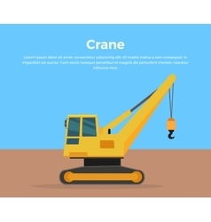 Caterpillar crane banner flat design vector