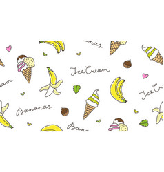 banana and ice cream vector image