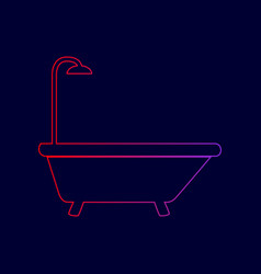 bathtub sign line icon with gradient from vector image vector image