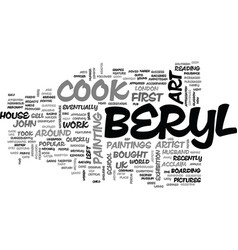 Beryl cook s art quirky uk artist text word cloud vector
