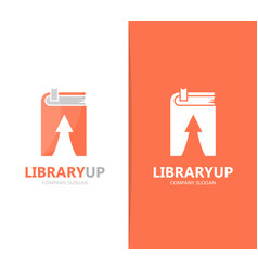 Book and arrow up logo combination vector