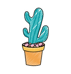 cactus in potted vector image vector image