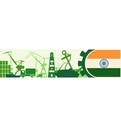Cargo port relative icons set india flag in gear vector