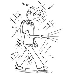 Cartoon of boy holding a flashlight torch and vector