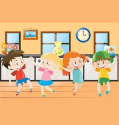 Children dancing in the house vector