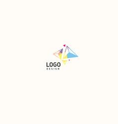 Creative logo multicolored geometric crystals vector