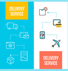 Delivery and logistics web banners templates vector