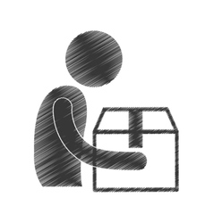 Drawing man giving box carton gift figure vector