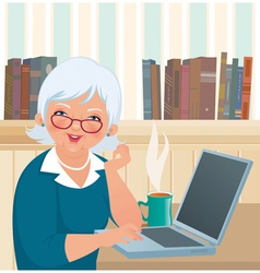 Elderly woman using a laptop vector image