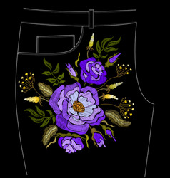 fashion floral embroidery vector image vector image