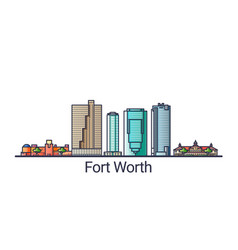 Flat line fort worth banner vector