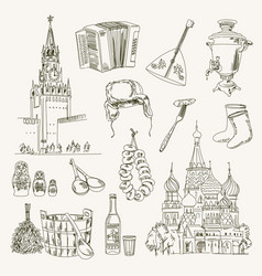 freehand drawing russia items vector image vector image