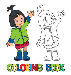 Funny little girl coloring book vector