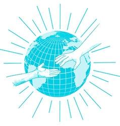 hands for help in blue tones vector image