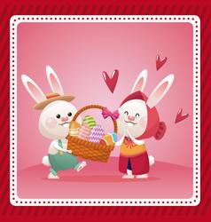 Happy easter couple bunny basket egg celebration vector