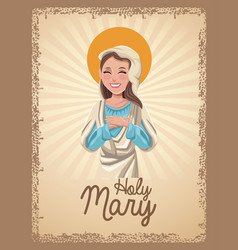 Holy mary catholic saint card vector