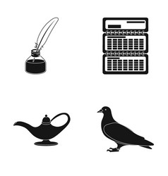 Inkwell calendar and other web icon in black vector
