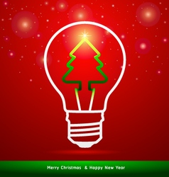 Merry Christmas tree in light bulb vector image vector image