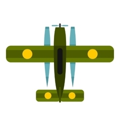 Military biplane icon flat style vector