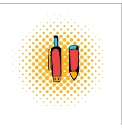 Pen gun comics icon vector