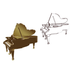 Piano on white background vector