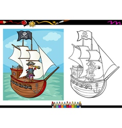 Pirate on ship cartoon coloring book vector