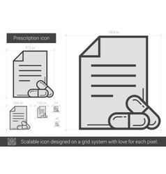 Prescription line icon vector image
