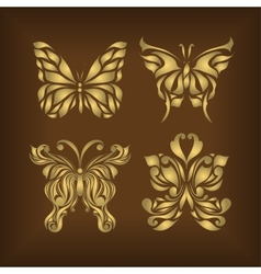 Retro set floral butterfly background vector