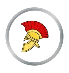 Roman soldier s helmet icon in cartoon style vector
