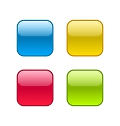 Set of square rounded web buttons with outlines vector image