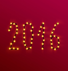 The text of the 2016 Christmas lights vector image vector image