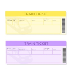 Train Tickets in Two Color Versions vector image vector image