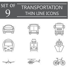Transport line icon set public transportation vector