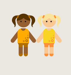 Two little girls cute black girl with friend vector