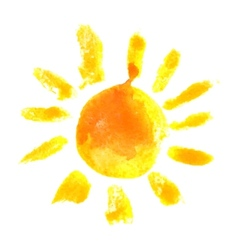 Watercolor sun icon vector