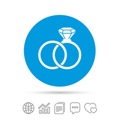 Wedding rings sign icon engagement symbol vector