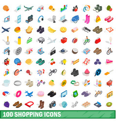 100 shopping icons set isometric 3d style vector image